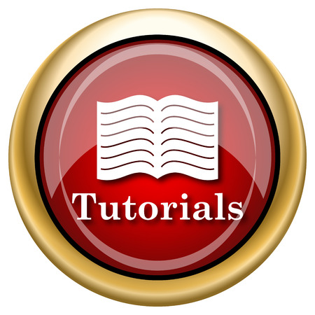 tutorials: Tutorials Red shiny glossy icon on white background