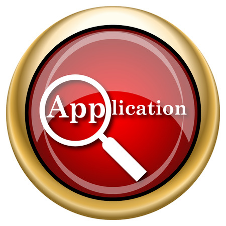 Application Red shiny glossy icon on white background photo