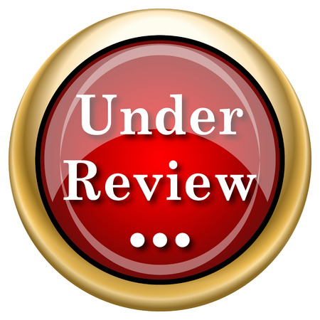 canceled: Under Review Red shiny glossy icon on white background
