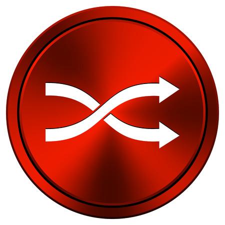 Shuffle Red metallic round icon on white background photo