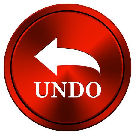 undo: Undo Red metallic round icon on white background