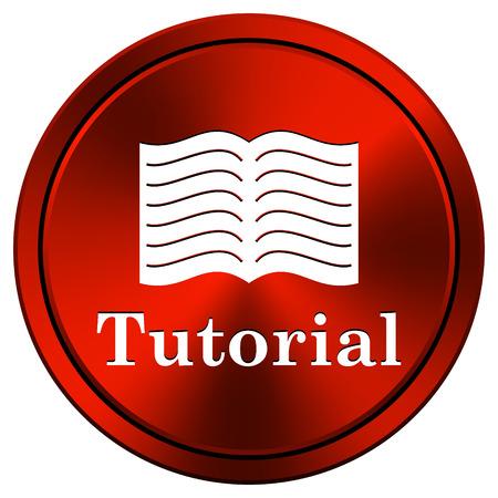 red metallic: Tutorial Red metallic round icon on white background