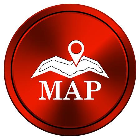 red metallic: Red metallic round icon on white background