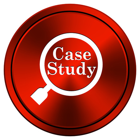case study: Case study Red metallic round icon on white background Stock Photo