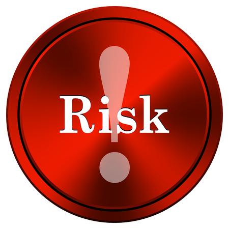 Risk Red metallic round icon on white background photo