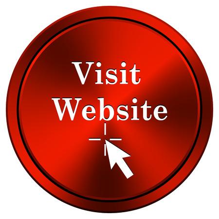 Visit website Red metallic round icon on white background photo