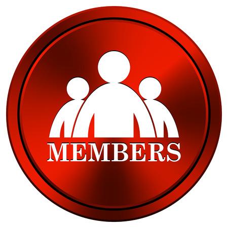 Members Red metallic round icon on white background