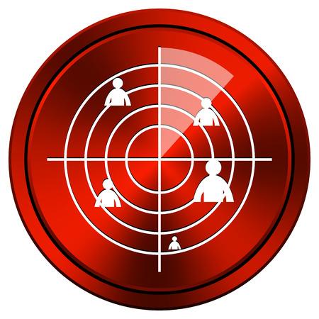 Radar monitoring Red metallic round icon on white background photo