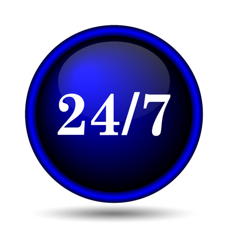 hrs: 24 7 icon. Internet button on white background.  Stock Photo