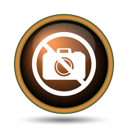 forbid: Forbidden camera icon. Internet button on white background.  Stock Photo