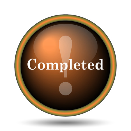 Completed icon. Internet button on white background.  photo