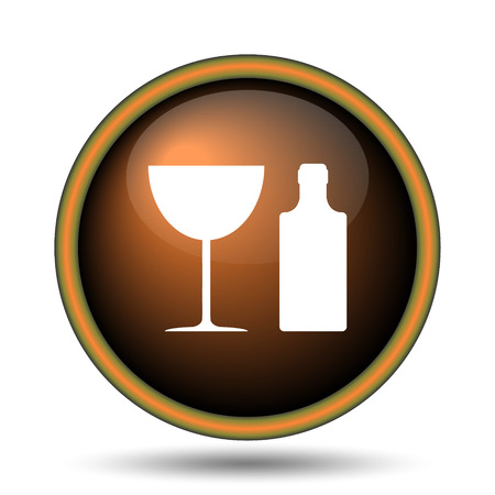 vermouth: Bottle and glass icon. Internet button on white background.  Stock Photo
