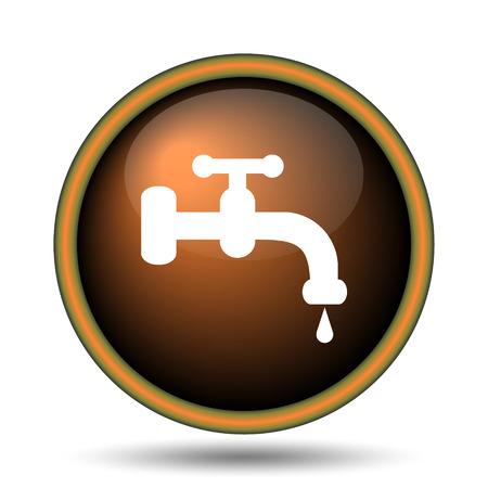 Water tap icon. Internet button on white background.  photo
