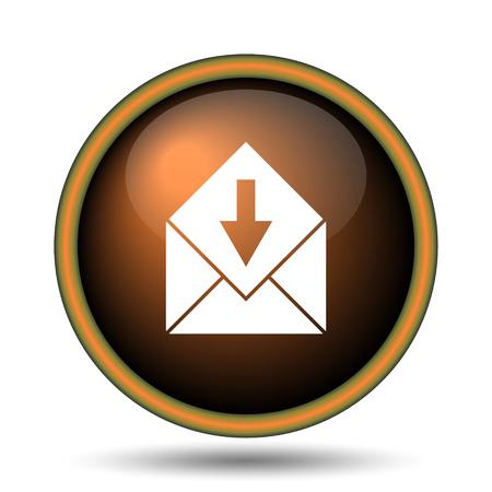 outlook: Receive e-mail icon. Internet button on white background.  Stock Photo