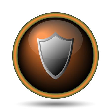 Shield icon. Internet button on white background.  Stock Photo