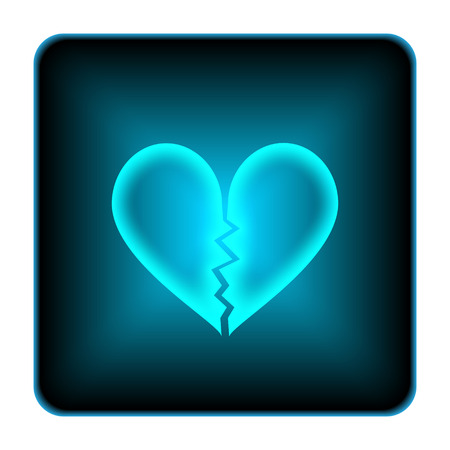 Broken heart icon. Internet button on white background.  photo