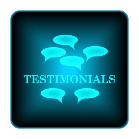 recommend: Testimonials icon. Internet button on white background.