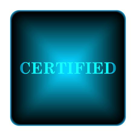 ratificaci�n: Icono de Certificado. Bot�n de Internet sobre fondo blanco. Foto de archivo