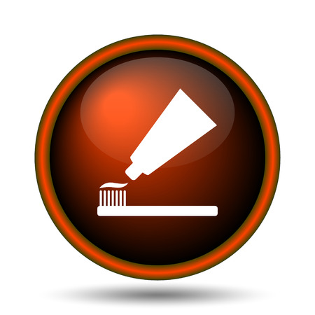 Tandpasta en borstel icoon. Internet-knop op witte achtergrond.