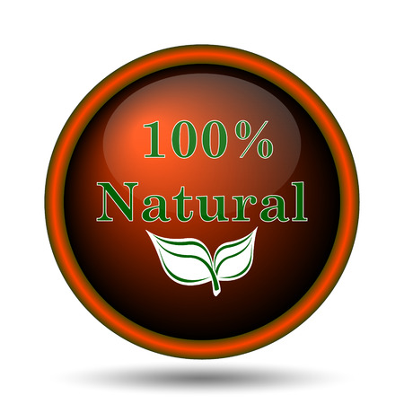 100 percent natural icon. Internet button on white background.  photo