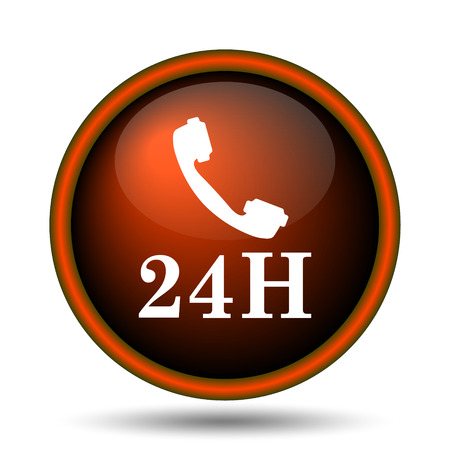 24H phone icon. Internet button on white background.  photo