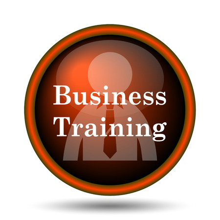 Business training icon. Internet button on white background.  photo