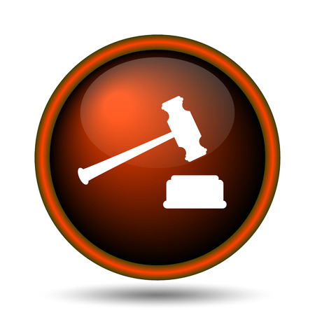 judgments: Judge hammer icon. Internet button on white background.