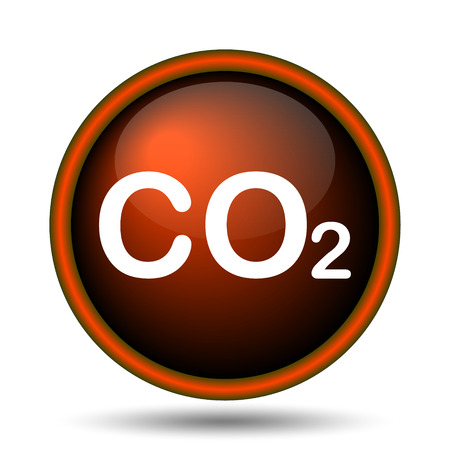 danger carbon dioxide  co2  labels: CO2 icon. Internet button on white background.