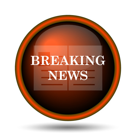 news update: Breaking news icon. Internet button on white background.  Stock Photo