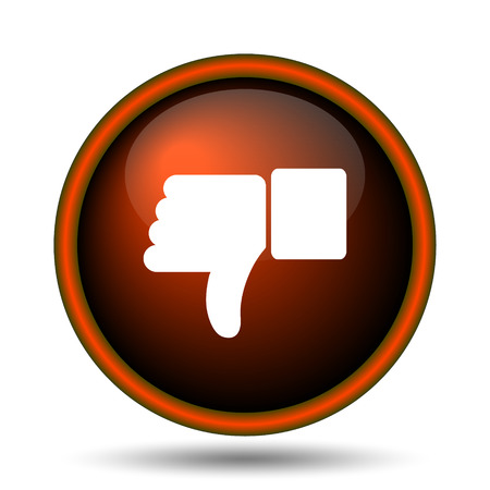 judgments: Thumb down icon. Internet button on white background.  Stock Photo