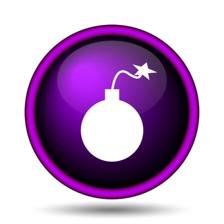 Bomb icon. Internet button on white background.