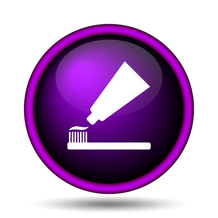 fluoride: Tooth paste and brush icon. Internet button on white background.