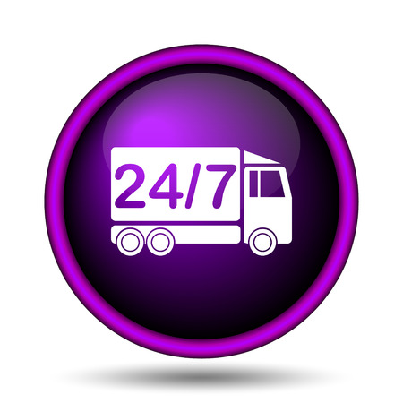 24 7 delivery truck icon. Internet button on white background.  photo