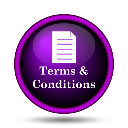 Terms and conditions icon. Internet button on white background.  photo