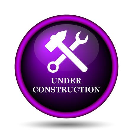 Under construction icon. Internet button on white background.  photo