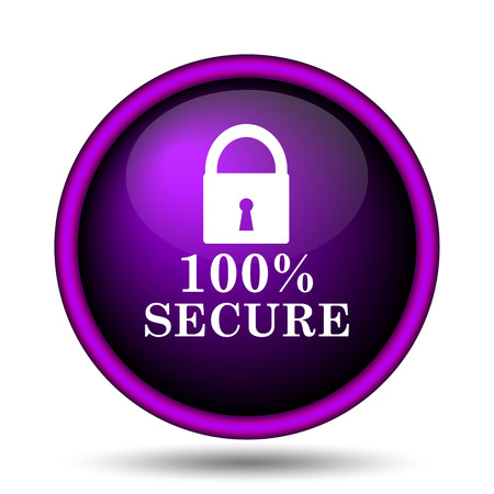 100 percent secure icon. Internet button on white background.  photo