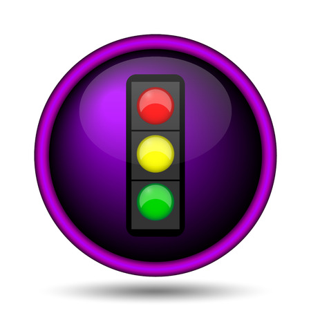 Traffic light icon. Internet button on white background.
