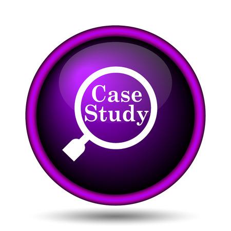 case studies: Case study icon. Internet button on white background.