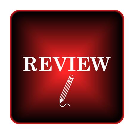 Review icon. Internet button on white background.  photo