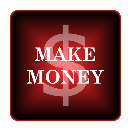 Make money icon. Internet button on white background.  photo
