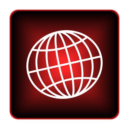 meridiano: Icono del globo. Botón de Internet sobre fondo blanco. Foto de archivo
