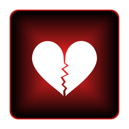 delusion: Broken heart icon. Internet button on white background.