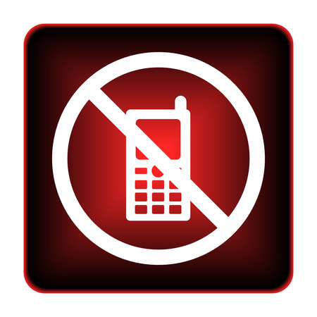 Mobile phone restricted icon. Internet button on white background.  photo