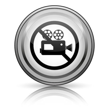 forbid: Forbidden video camera icon. Internet button on white background.