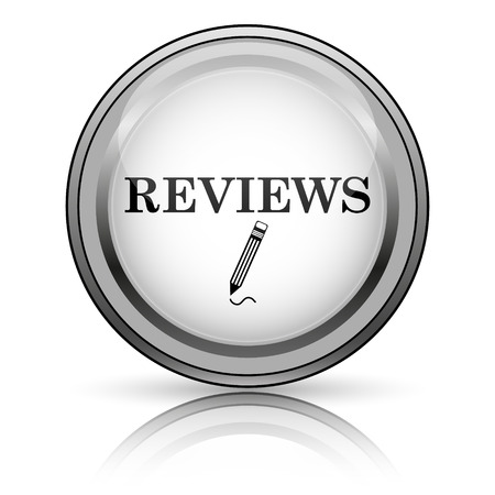 tribute: Reviews icon. Internet button on white background.  Stock Photo