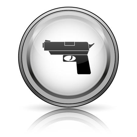 Gun icon. Internet button on white background.  photo