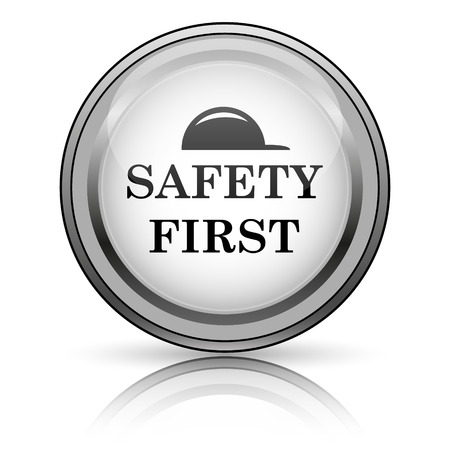 safety first: Safety first icon. Internet button on white background.  Stock Photo