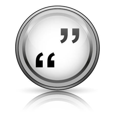 quotation: Quotation marks icon. Internet button on white background.  Stock Photo