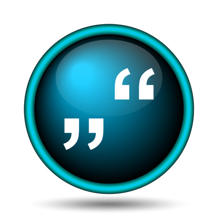 quotations: Quotation marks icon. Internet button on white background.  Stock Photo