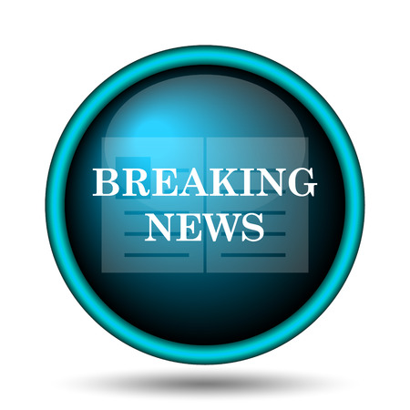 newscast: Breaking news icon. Internet button on white background.  Stock Photo